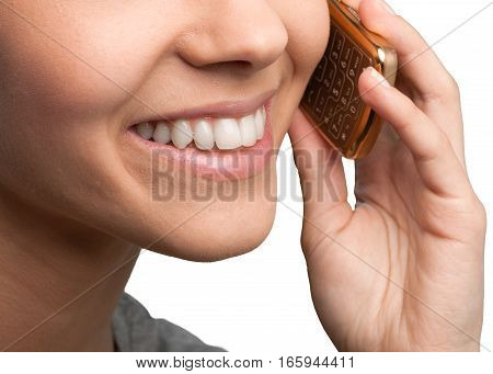 Closeup on a Woman Talking on the Phone