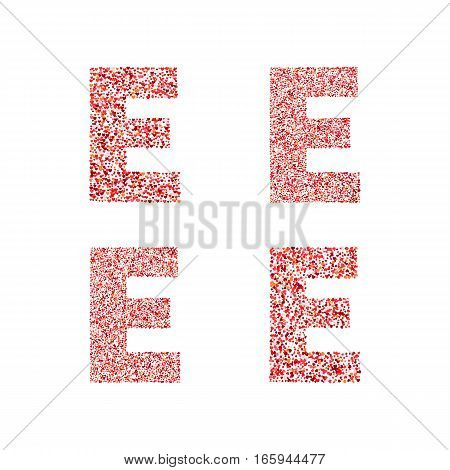 Alphabet letter E with red heart on Valentine's Day. Valentine`s Day Alphabet of Hearts. Love ABC