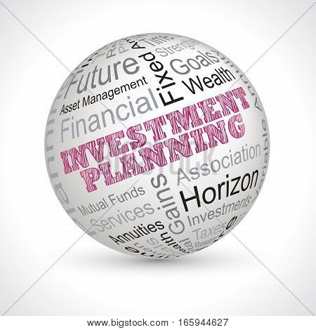 Investment Planning Theme Sphere With Keywords