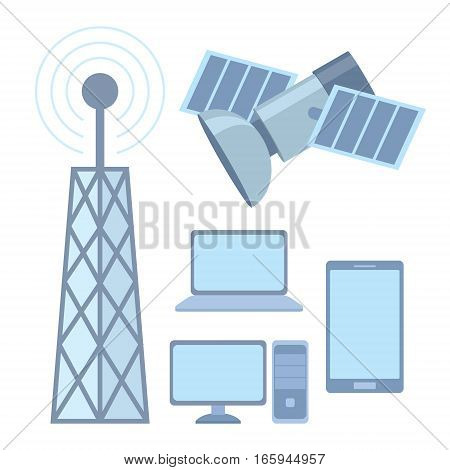 tellecomunication system satellite internet and phone vector illustration