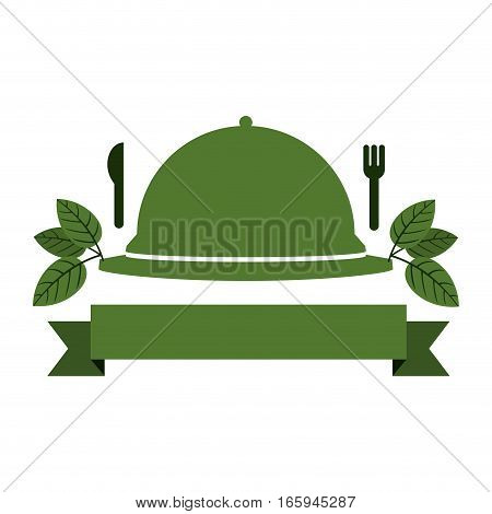 tableware cover with label and cutlery vector illustration