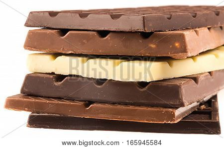 Stack of White / Dark / Milk Chocolate Bars