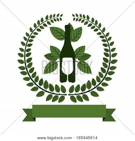 Arch of green leaves with bottle wine and cutlery vector illustration