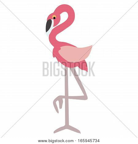 colored icon baby pink bird-the Flamingo. template stickers badges or labels. baby shower or arrival. vector illustration