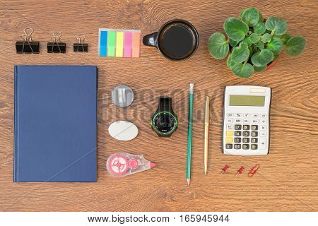 Office Stationery On Wooden Table Top View.
