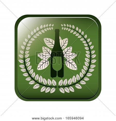 square button with crown of leaves with bottle wine and cutlery vector illustration