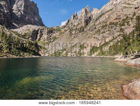 Emerald Lake in the Tyndall Gorge area of Rocky Mountain National Park, near Estes Park, Colorado.