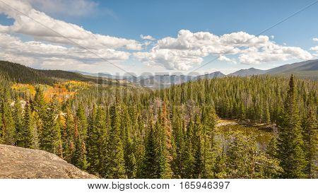 Autumn colors at Nymph Lake Overlook, in Rocky Mountain National Park, near Estes Park, Colorado.