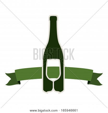 silhouette with bottle wine and goblet vector illustration