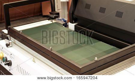 Vacuum package conveyor frame machine. Vacuum packaging helps to seal goods to keep it safe.