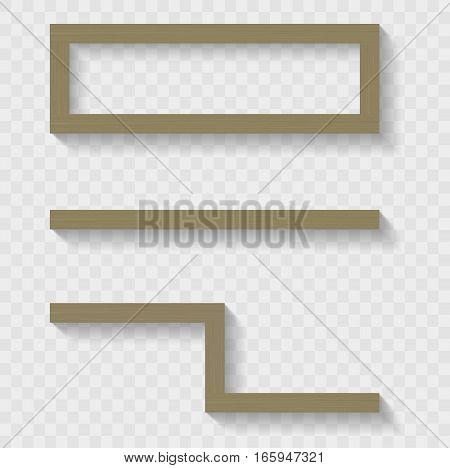Wooden shelves for the living room or shop. Transparent shadows. Vector graphics