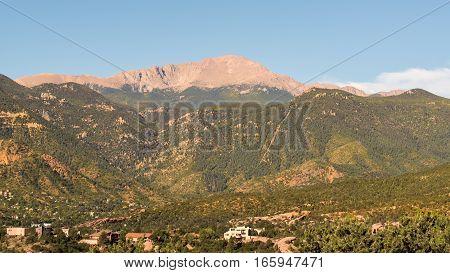 Pikes Peak, near the city of Colorado Springs, Colorado.