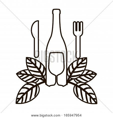 countour bottle wine and goblet with leaves vector illustration