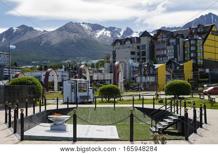 USHUAIA ARGENTINA 05 DECEMBER 2016: View to Ushuaia town with eternal light