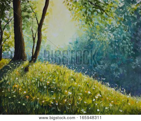 Original oil painting of sunny clearing in the summer forest on canvas. Modern Impressionism Art. Artwork.
