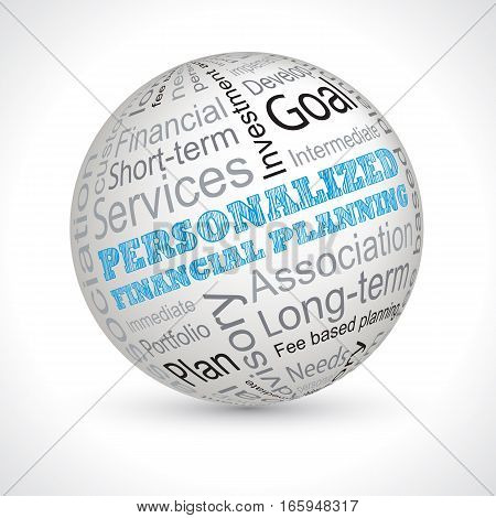 Personalized Financial Planning Theme Sphere With Keywords