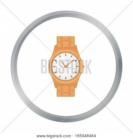 Golden watch icon in cartoon style isolated on white background. Jewelry and accessories symbol vector illustration.