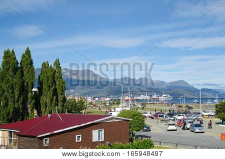 USHUAIA ARGENTINA 05 DECEMBER 2016: view to the town mountains and port