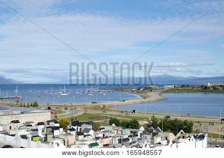 USHUAIA ARGENTINA 05 DECEMBER 2016: view to the local cemetery and bay with numerous sailing boats