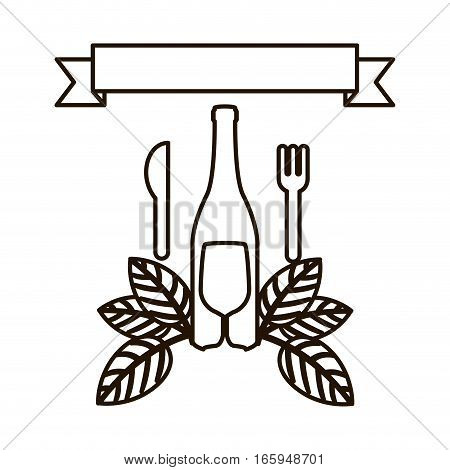 silhouette set bottle wine and goblet with leaves and cutlery vector illustration