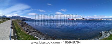 Panoramic view to port with big ships in Ushuaia