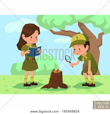 Children Scouts In Forest. Girlscout Boyscout Vector Flat Cartoon Illustration
