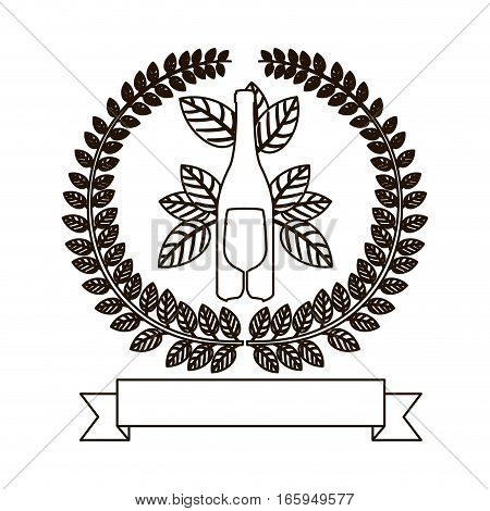 silhouette crown of leaves with bottle wine and cutlery vector illustration