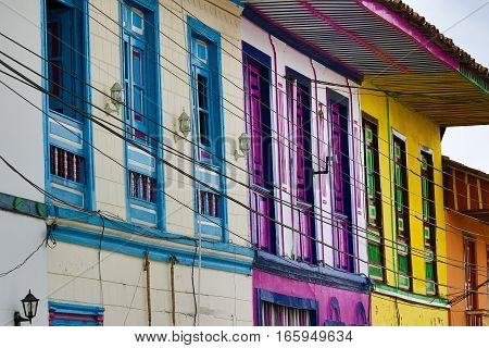 September 22, 2016 Filandia, Colombia: colourful colonial architecture in the coffee producing town