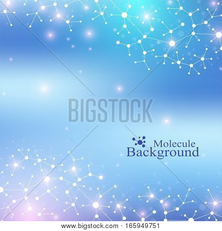Modern Structure Molecule DNA. Atom. Molecule and communication background for medicine, science, technology, chemistry. Medical scientific backdrop