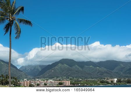 Kahului view from the beach Maui, Hawaii