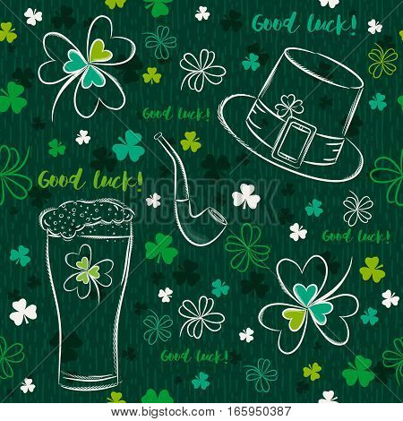 Green seamless background for Patricks day with ber mug hat pipe and shamrocks vector illustration