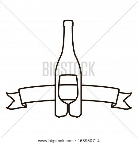 contour with bottle wine and goblet vector illustration