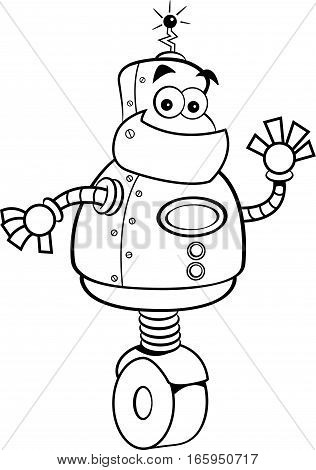 Black and white illustration of a smiling robot waving.