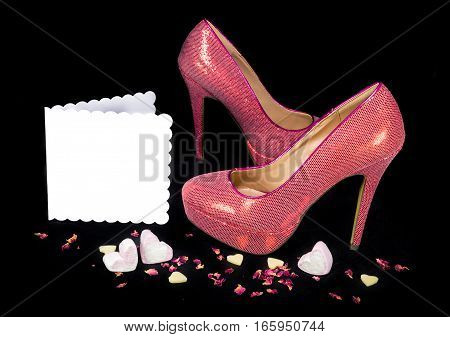 Pink Shoes On Black Background, Card With Copy Space.