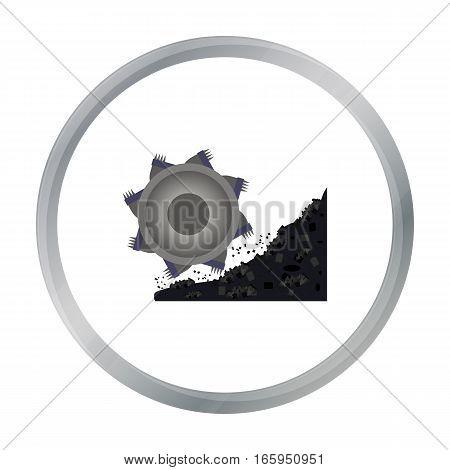 Bucket-wheel excavator icon in cartoon style isolated on white background. Mine symbol vector illustration.
