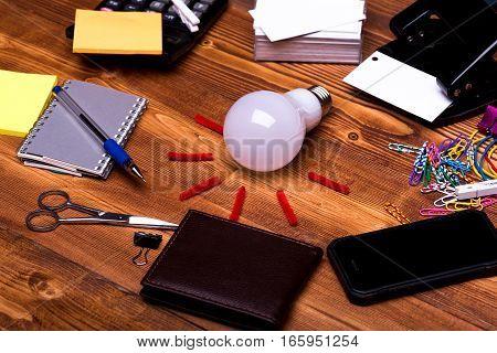 Stationery: Notebook, Scissors, Clips, Pen, Blanks, Wallet, Lightbulb, Hole Puncher