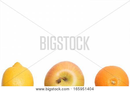 orange grapefruit citrus yellow lemon fruit and apple with vitamin for healthy diet isolated on white background copy space