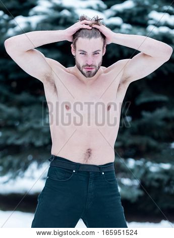Handsome Muscular Man In Winter Outdoor