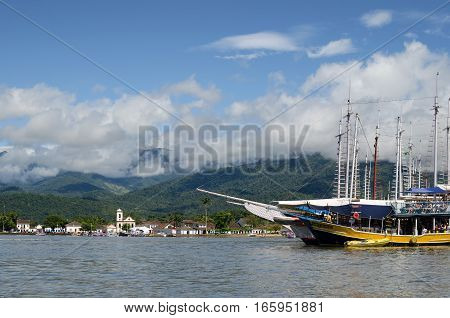 PARATY BRAZIL 15 NOVEMBER 2016: View to Paraty town and nearby yachts from the water