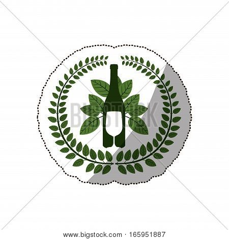 sticker arch of leaves with bottle wine and goblet vector illustration