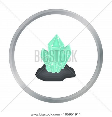 Crystals icon in cartoon style isolated on white background. Mine symbol vector illustration.