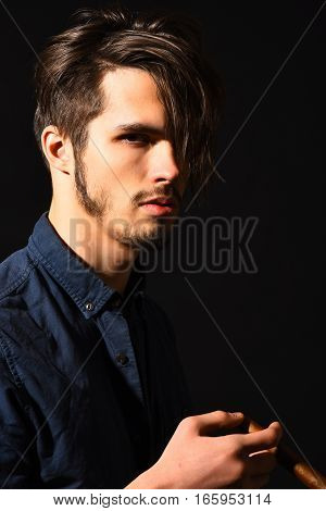 Serious Bearded Man With Cigar