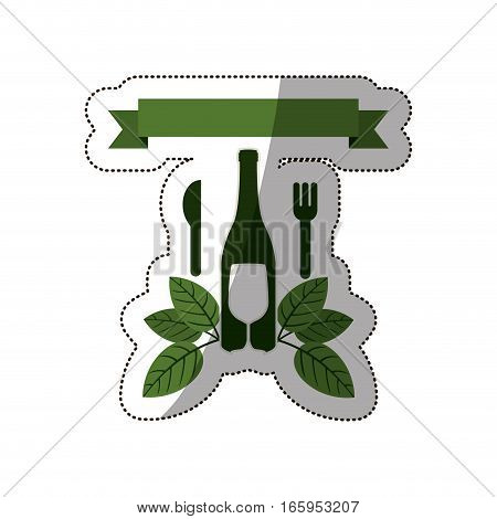 sticker set bottle wine and goblet with leaves and cutlery vector illustration