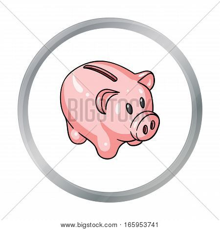 Piggy bank icon in cartoon style isolated on white background. Money and finance symbol vector illustration.