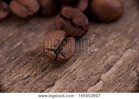 The grains of coffee or mocha on wood background