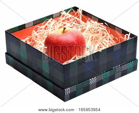 Red Apple Fruit In Box With Straw Isolated On White
