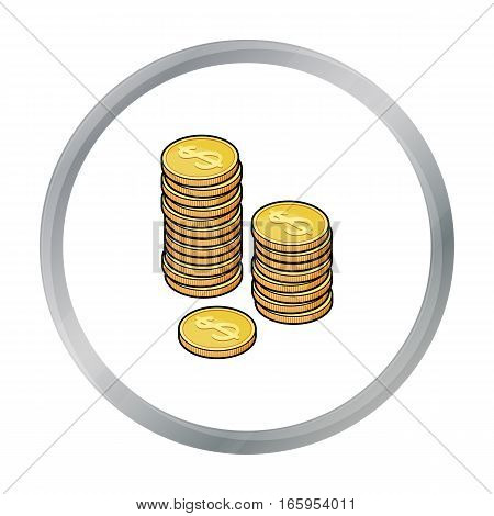 Golden coins icon in cartoon style isolated on white background. Money and finance symbol vector illustration.