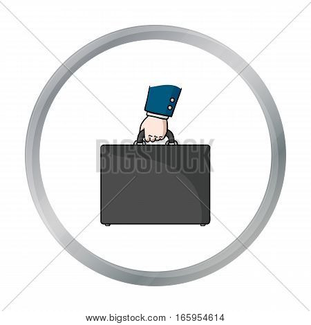 Briefcase icon in cartoon style isolated on white background. Money and finance symbol vector illustration.