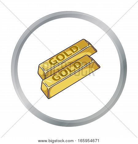 Golden bars icon in cartoon style isolated on white background. Money and finance symbol vector illustration.