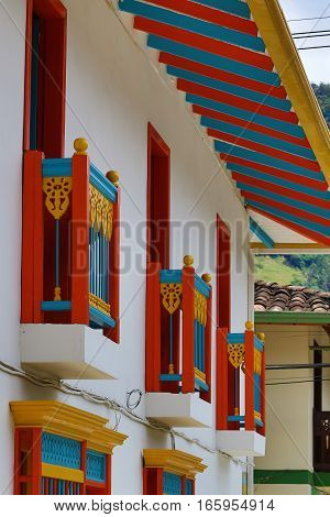 September 30, 2016 El Jardin, Colombia: the buildings in the coffee producing small town are decorated with colourful balconies